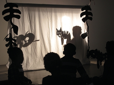 Using the learning space for a shadow puppet show at the South London Gallery. Photo: Heather Kay.
