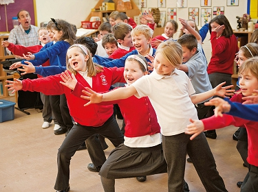 Pupils at Longhorsley School, Northumberland, taking part in a Clore Performing Arts Awardfunded drama workshop organised by the Castle Federation, Northumberland. Photo: Paul Harris.